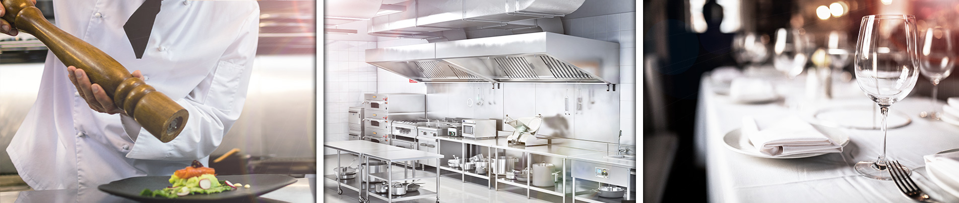 Central Food Equipment displaying a well-stock stainless steel kitchen, dinnerware and a chef preparing a salad.